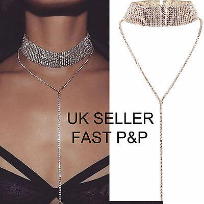Women Collar Diamante Necklace Bling Rhinestone Crystal Choker Party Evening -UK