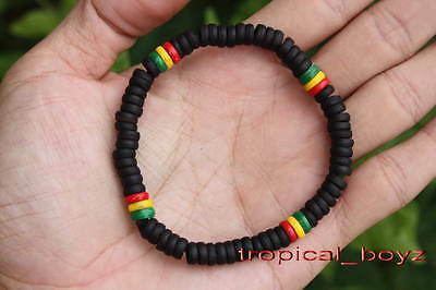 10 Rasta Reggae Black Coconut Shell Wood Beads Stretchy Bracelets Wholesale Lot
