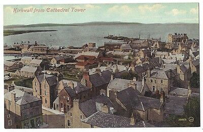 KIRKWALL from Cathedral Tower, Orkney, Old Postcard by Valentine, Unused