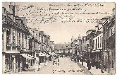 ST IVES Bridge Street, Cambs Animated Scene, Old Postcard Unposted