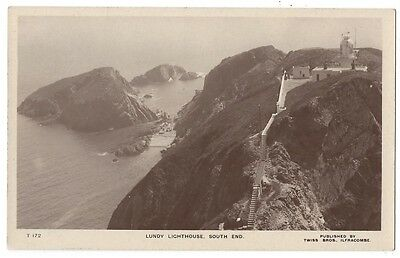 LUNDY Lighthouse, South End, RP Postcard by Twiss Bros, Unused