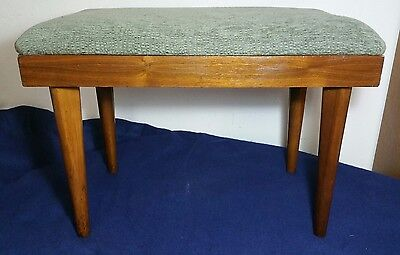 Mid Century Modern - Foot Stool (Footstool) Ottoman Bench Wood Green Fabric