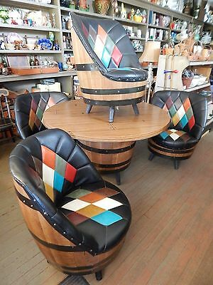 Mid-Century Brothers Whiskey Barrel Table & 4 Black Leather Chairs Livermore, KY