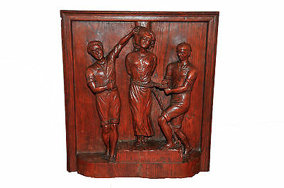 Antique French Oak Carved Wooden Panel of St Apolline, Patron St of Dentistry