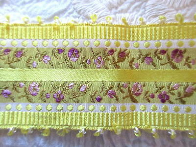 "FABULOUS ANTIQUE PURE SILK RIBBON TRIM~34"" x 1 1/2""~WOVEN PINK ROSEBUDS~MINT"