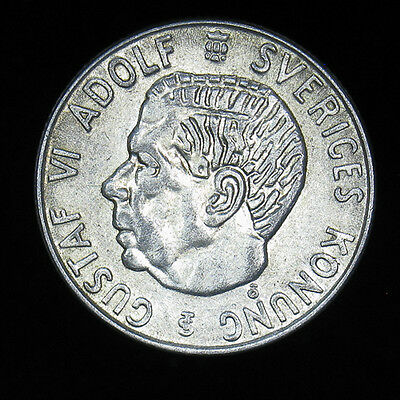 1958 Sweden 1 Krona silver coin About Uncirculated AU