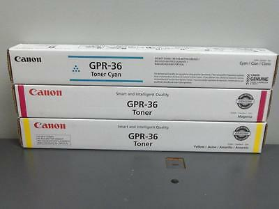 3 New Genuine Canon GPR-36 Cyan Magenta & Yellow Color Toners