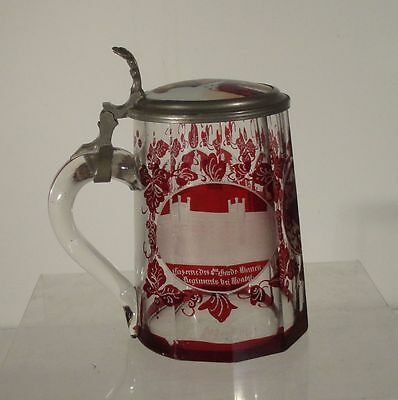Antique German Engraved Berlin Views Gambrinus Drinking Stein Beer Brewing