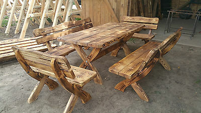 Garden Wooden Furniture Table + 2 Bench +2 chairs