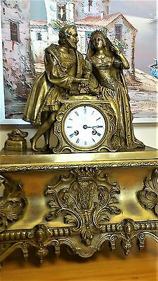 Antique French Solid Bronze Ormolu 8 day Royal Figural Mantel Clock.