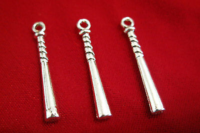 "10pc ""baseball bat"" charms in antique silver style (BC158)"