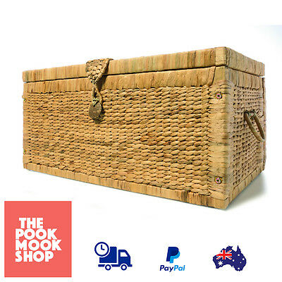 Basketware Trunk Rustic Basket Accent Storage, Wicker Chest Box, Laundry Case