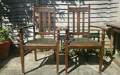 Pair of Edwardian Oak Arts & Crafts Open Carver Armchairs