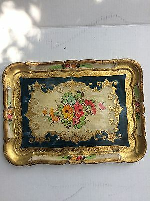 Vintage Decorative Florentine Florentia Wooden Serving Tray Hand Made In Italy A