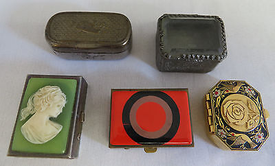 French Antique vintage 5 pill box cameo glass metal EL BREVETE SGDG 30's to 70's