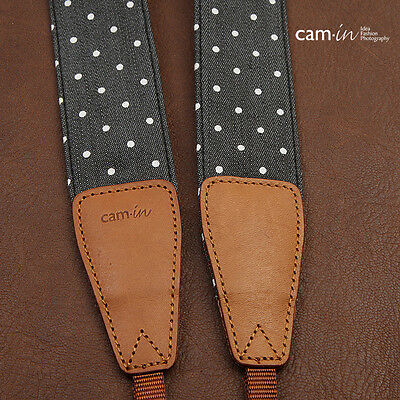 Denim Polka Dot DSLR Camera Strap by Cam-in - Black