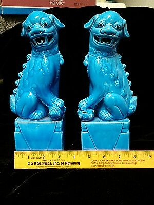 Vintage Foo Dogs Turquoise Blue Pair Lions Feng Shui 10 inch  tall Bookends Set
