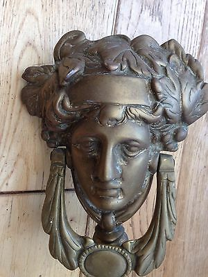Vintage Large Very Heavy Greek Godess Brass Door Knocker/lady Face Door Striker