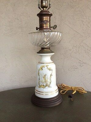 "Antique Table Lamp, Brass and Ceramic, solidly built, good condition, 32"" high"