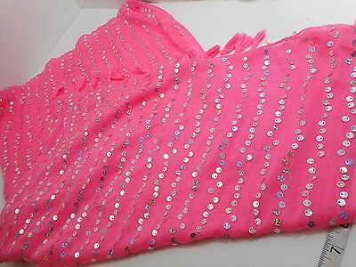 Neon Pink w Sequin Bling fashion scarf justice pink bright girls womens thin