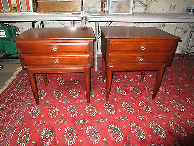 Mid Century Cherry Furniture Pair Willett Two-Drawer End Or Lamp Table