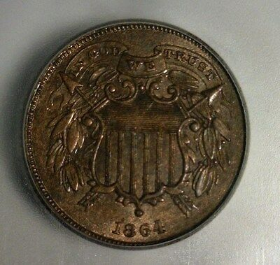 "1864  Two Cent Piece  ""small Motto""  Icg Ms-61 Bn     Nice Looking Coin!!"