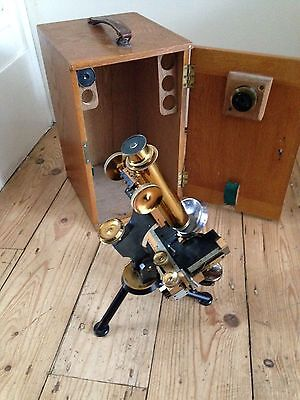 Antique Vintage W. Watsons & Sons Brass Microscope For Restoration + Case old