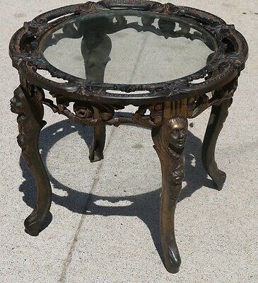 Vintage Cast Iron Legged Art Deco Round Table with Lady Figured Leggs