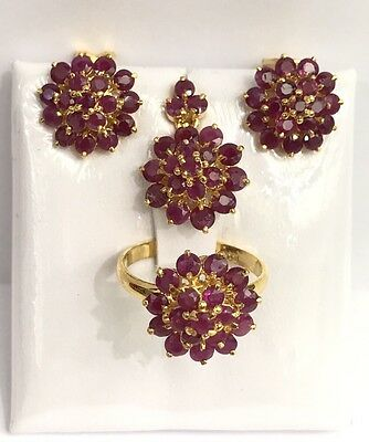 14k Solid Yellow Gold Round Cluster Set Earrings Ring Pendant, Natural Ruby 8TCW