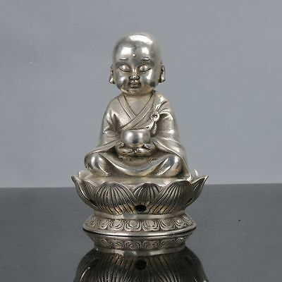 Old Chinese Tibet Silver Handwork Monk Statue W Xuande Mark gd1671