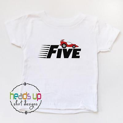 5 Birthday Shirt Boy Girl Racecar Race Car Five Bday Tshirt Fifth Kids Tee 5th