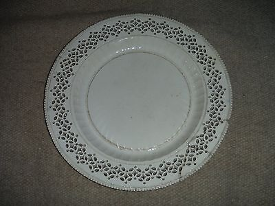 "Antique Leeds Reticulated Plate 10"" Creamware 18th c as is"