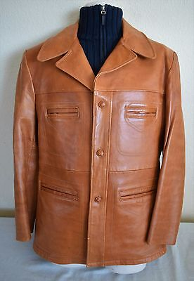Vtg 70s ROBERT LEWIS thick Lambskin Leather Mens MOD DISCO Blazer jacket 42