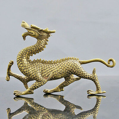 Chinese Brass Hand Carved  Dragon Statue D