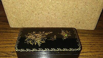 wooden jewelry box vintage russia small black handmade collectible