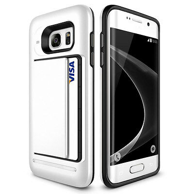 Shockproof Card Money Wallet Clip Case For Samsuung Galaxy S6 EDGE-White