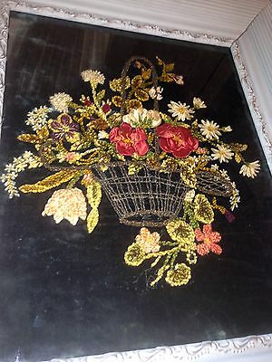 Antique French Floral Basket Needle Work! Silk Chenille Bullion Metallic Velvet
