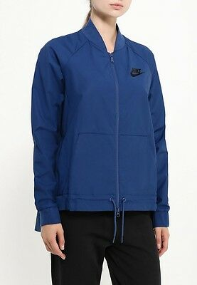 New Nike Women's Bomber Jacket/running/pockets/lightweight sport/navy/sport coat