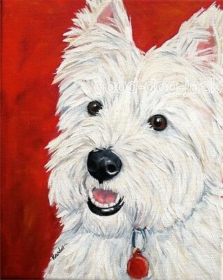 """West Highland Terrier WESTIE MATTED PRINT Painting """"BRIGHT EYES"""" Dog RANDALL"""
