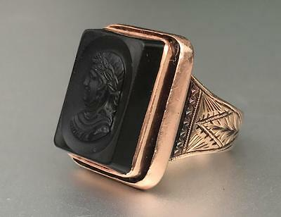 Large Antique Victorian Black ONYX & 14k Pink Yellow Gold Carved CAMEO Ring