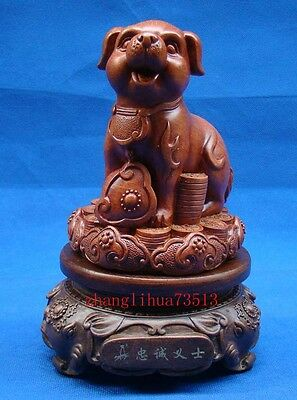 Antique Collectible Handmade Carving wood Statue rotate Loyal dog Deco Art