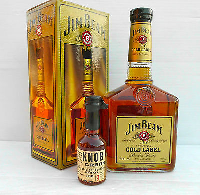 Jim Beam Gold Label 750ML 100 Proof Boxed Full/Sealed- PLUS Gen.1 Knob Creek!!!!
