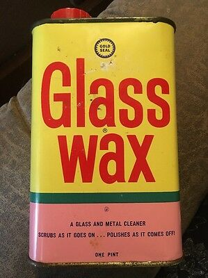 Vintage Glass Wax Cleaner Gold Seal Co. 16oz Full Can