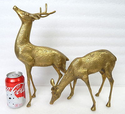 2nd Pair Vintage Mid Century Large Brass Spotted Buck Doe Deer Statue Sculpture
