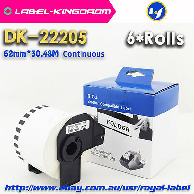 6 Rolls Brother Compatible DK-22205 Label 62mm*30.48M All Include Plastic Holder