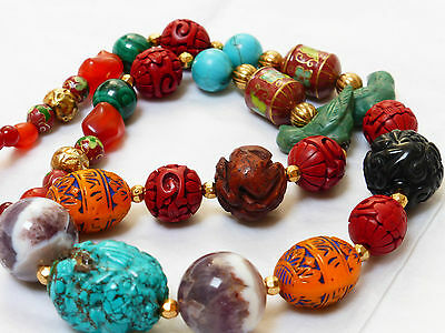 Chinese Vintage/antique Large Carved Mixed Beads Necklace, 128 Grams