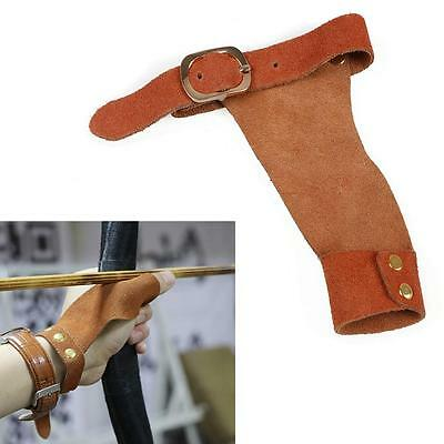 Brown Cow Leather Archery Finger Guard Protective Glove Tab Right Left Hand Bow