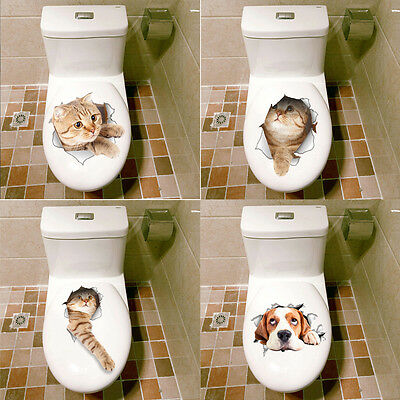 Cat Dog Vivid 3D View Smashed Wall Sticker Bathroom Toilet Kitchen Home Decal