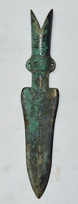 China Old Antique War Solider Bronze Weapon Spear/lance Head Carve Dragon Statue