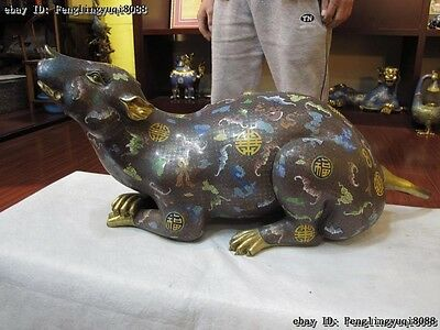 Chinese Zodiac Animal Bronze 24K Gold Cloisonne Lucky Wealth Rat Mouse Statue